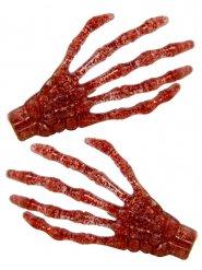 Luurangon punaiset kädet- paljettiset hiuspinnit 7 cm 2 kpl