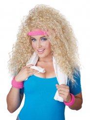 Blondi 80-luvun kiharaperuukki naiselle hiuspannalla