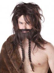 Barbaarin viikingin peruukki ja parta miehelle