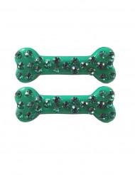 Vihreät luut- hiuspinnit 6 cm 2 kpl