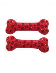 Punaiset strassiset luuhiuspinnit 6 cm