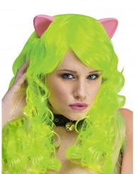 Neonvihreä peruukki kissan korvilla