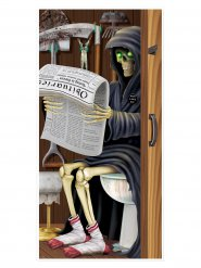 Halloween ovikoriste - Viikatemies pöntöllä