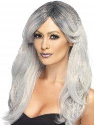 Pitkä harmaa peruukki naiselle