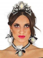 Prinsessan mustavalkoiset korut ja tiara