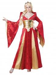 Keskiaikaisen kuningattaren punainen naamiaisasu naiselle