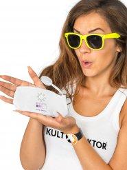 Valkoinen meikkipussi UV-indikaattorilla