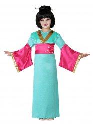 Vihreä vaaleanpunaisen geishan naamiaisasu tytölle
