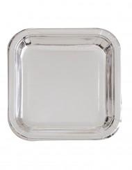 Neliönmuotoiset hopeanväriset lautaset 23 cm 8 kpl