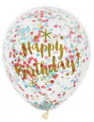 Happy Birthday-ilmapallot konfeteilla 6 kpl