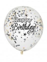 Happy Birthday-ilmapallot konfeteille 6 kpl