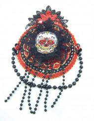 Punamusta Dia de los muertos- hattu naiselle