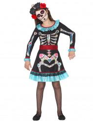 Värikkään luurangon Dia de los muertos- naamiaisasu tytölle