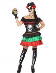 Värikäs Dia de los muertos- naamiaisasu naiselle