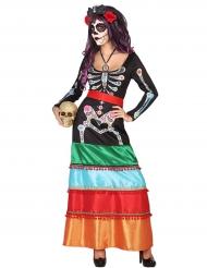 Värikäs Dia de los muertos -mekko aikuisille