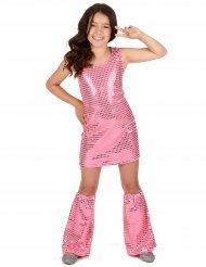 Vaaleanpunainen disco-henkinen paljettiasu lapsille