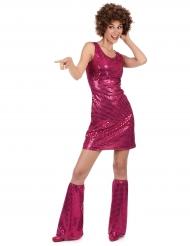 Violetti disco-henkinen paljettiasu aikuisille