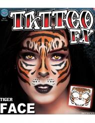 Siirtotatuointi kasvoille Tiikeri