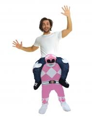 Mies Power Rangerin™ selässä-vaaleanpunainen Morphsuits™-haalari aikuiselle