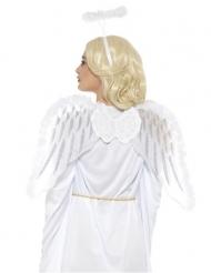 Valkoisen enkelin asustesetti siivillä ja sähekehällä aikuiselle