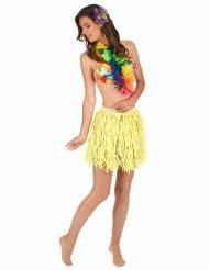 Keltainen hawaijilainen hula-hame aikuisille (lyhyt)
