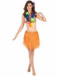 Oranssi hawaijilainen hula-hame aikuisille (lyhyt)