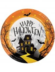 Kummituskartano- pahvilautaset halloween 8 kpl 18 cm