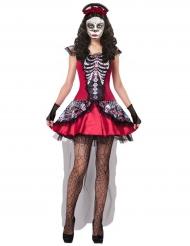 Punainen värikäs Dia de los muertos-naamiaisasu naiselle