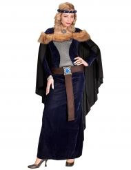 Keskiaikaisen prinsessan naamiaisasu tekoturkiksella naiselle