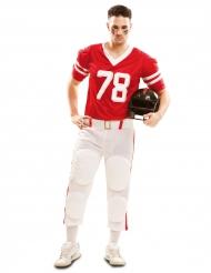 Amerikkalaisen jalkapallon pelaajan punainen naamiaisasu aikuiselle