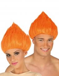 Oranssi trollipeikon peruukki aikuisille
