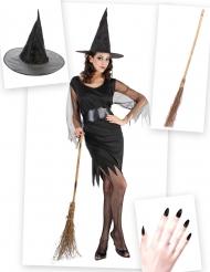 Lyhyt noitamekko - Aikuisten Halloween-setti