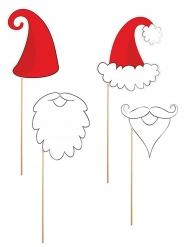 Joulupukki photobooth-asusteet 4 kpl