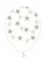 Lateksiset ilmapallot hopeanvärisillä tähdillä 6 kpl