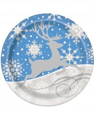 Lumihiutaleet ja jouluporo-pahvilautaset 23 cm 8 kpl