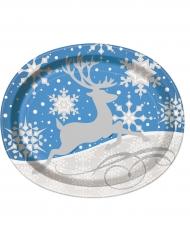 Jouluporo ja lumihiutaleet-soikeat pahvilautaset 25 x 31 cm 8 kpl joulu