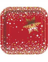Punakultaiset pahvilautaset 18 cm 8 kpl joulu