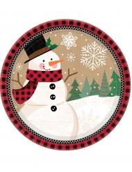 Lumiukko pahvilautaset 18 cm 8 kpl