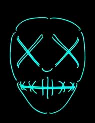 Neon naamari silmät ja suu ommeltu