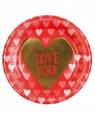 Love you- pahvilautaset 23 cm 6 kpl