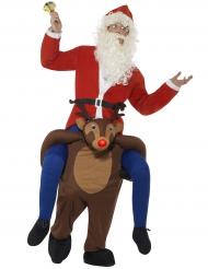 Joulupukki poron selässä-naamiaisasu aikuiselle