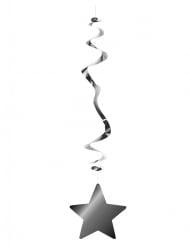 Hopeanväriset tähtiriippukoristeet 80 cm 6 kpl