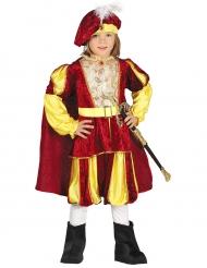 Kuninkaan kelta/punainen veluurinen naamiaisasu pojalle