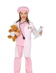 Eläinlääkärin vaaleanpunainen naamiaisasu tytölle