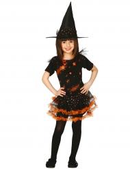 Mustaoranssi noidan naamiaisasu halloweeniksi tytölle