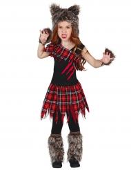 Koululaisen/ihmissuden naamiaisasu tytölle halloween
