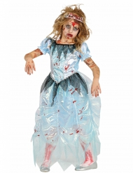 Sinisen zombiprinsessan naamiaisasu tytölle