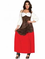 Majatalon emännän keskiaikainen naamiaisasu naiselle