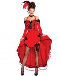 Punainen camcam-asu mustilla ruseteilla naiselle