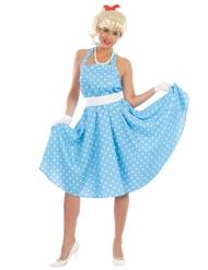 50- luvun sininen pilkkumekko naiselle